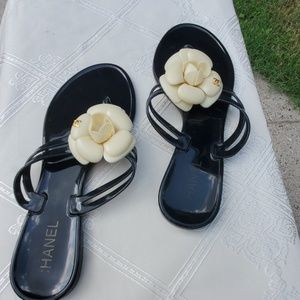 CHANEL Shoes - Coco Chanel Black Jelly White Camellia Sandals